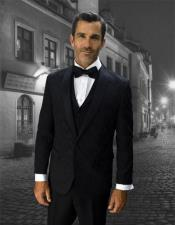 black Single Breasted 1 Button Vested tuxedo Suit