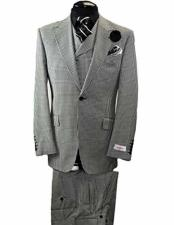 Mens Italian Black & White Checked Peak Lapel Wool 1 Button