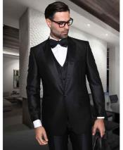 Sharkskin 1 Button Peak Lapel Tuxedo Vested Black Suit With Sheen