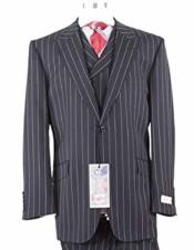 Rosso Mens Italian Black Pinstripe Peak Lapel 1 Button Wool Wide