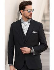 1 Button Single Breasted Wool Black Peak Lapel Suit