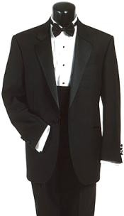 120s Wool One Button Tuxedo Suit + Tuxedo Shirt and Bow tie
