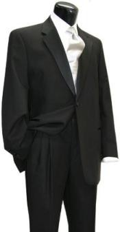 Front Pants Wool One Button Notch Tuxedo Jacket Suit + Wool