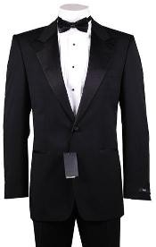 Button Peak Lapel 100% Wool Designer Side Vented Tuxedo Suit
