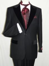Mens Black Wool Formal Tuxedo Suit Velvet Trim Peak Lapel One