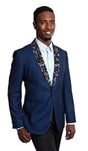 Mens Tazio 1 Button Slim Fit Navy Blazer