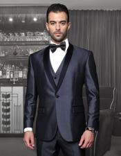 Mens One Button Classic Three Piece Shawl Collar Suit With Trim On