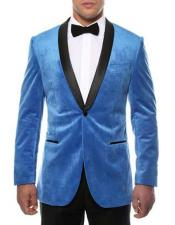 ~ Blue 1 Button Mens Shawl Lapel Side Vented Black Velvet Velour With Sheen Two Toned With
