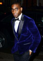 Mens Blue Velvet Button Blazer In Royal Blue Or Navy Blue