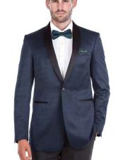 Mens Shawl Collar 1 Button Blue Textured Tuxedo Slim Fit Double Vent Blazer
