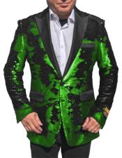 "Fashion Alberto Nardoni Shiny Sequin Bright Green Tuxedo Black Lapel ""Paisley Look"" Sport Jacket ~ Coat Blazer"