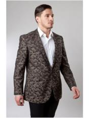 1 Button Brown Single Breasted Notch Lapel Pattern Jacket Side Vents Slim Fit Camouflage blazer