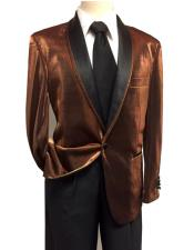 Shiny Brown ~ Rust Tuxedo Dinner Jacket Blazer Sport Coat Jacket Shawl Collar