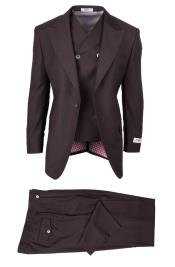 Tiglio brand Mens 3 Piece San Giovesse Wool Brown Full Cut Double Breasted Vest Suit