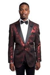 Mens Tazio 1 Button Slim Fit  Burgundy ~ Wine ~ Maroon Color/Black Blazer