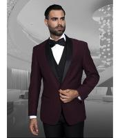 Mens Burgundy ~ Wine ~ Maroon Color Shawl Collar Dinner Jacket Black Lapel 1 Button Blazer Sport