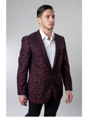 1 Button Burgundy ~ Wine ~ Maroon Color Single Breasted Notch Lapel Pattern Jacket Side Vents Slim