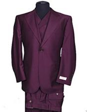 Rosso Mens Peak Lapel Italian Wide Leg Burgundy ~ Wine ~