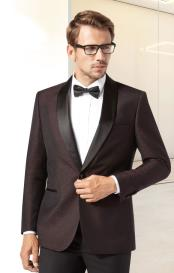 Mens Burgundy ~ Wine ~ Maroon Color Modern Fit Shawl Lapel One Button Single Breasted Tuxedo