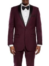 Mens Maroon Tuxedo Slim Fit Black and Burgundy ~ Wine ~ Maroon