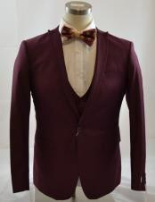 Mens 1 Button Peak Lapel Vested suit Peak Lapel Burgundy ~ Wine