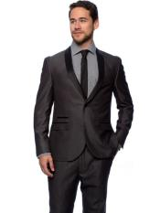 West End Mens Young Look 1 Button Charcoal Slim Fit Satin Shawl Collar Tuxedo