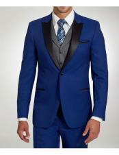 Mens Stylish One Button Peak Black Lapel Cobalt Blue Trim Fit Suit