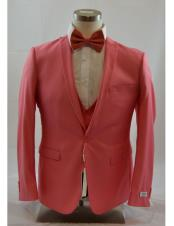 1 Button Peak Lapel Vested Salmon ~ Coral color suit Peak