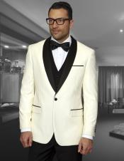 Cream ~ Ivory  ~ Off White Dinner Jacket 1 Button Blazer Sport Coat Black Lapel +