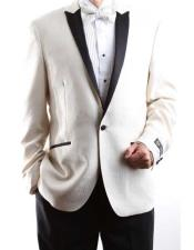 Mens One Button Cream 150s Satin Peak Lapel Single