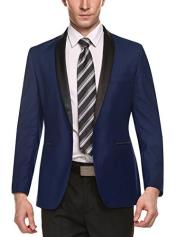 Alberto Nardoni Brand Mens Dark Blue Shawl Lapel 1 Button Slim Fit Stylish Casual Business Blazers