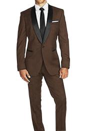 Braveman Mens Slim Fit 1 Button Satin Shawl Lapel Dark Brown Tuxedo Suit Super 150s Wool Jacket