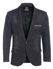 Perruzo Denim Black Blazer Slim Fit Sport Jacket