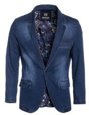 Perruzo Denim Blazer Slim Fit Navy Sport Jacket