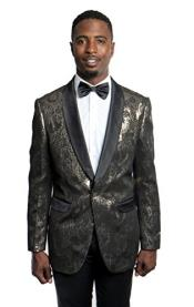 Mens Tazio 1 Button Gold/Black Blazer