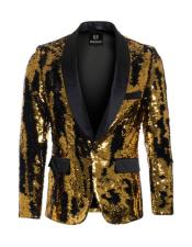 Gold ~ Black high fashion sequin blazer