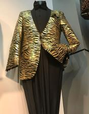 Single Breasted Notch Lapel Tiger Pattern Gold fashionable Suits