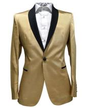 Men Gold Contrast Lapel Black Shawl Collar 2 Toned Dinner Jacket Blazer