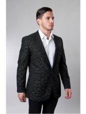 1 Button Green Single Breasted Notch Lapel Pattern Jacket Side Vents Slim Fit Camouflage blazer