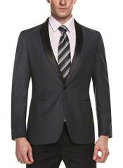 Alberto Nardoni Brand Mens One Button Shawl Lapel Grey Slim Fit Stylish Casual Coat Blazer