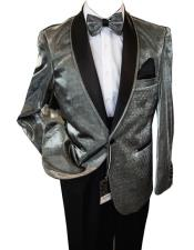 Mens Shiny Silver ~ Grey / Gray Tuxedo Dinner Jacket Blazer Sport