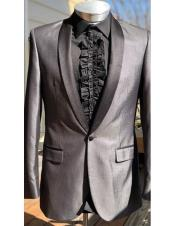 Mens one button shawl black Lapel grey fashionable suit