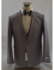 Grey 1 Button Peak Lapel Vested suit Peak Lapel 3 Piece