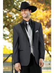 Mens Western Traje Vaquero Suit & Tuxedo Dark Grey