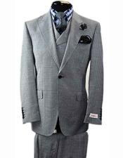 Rosso BIRDSEYE Mens Italian 1 Button Grey Vested 100% Wool Peak