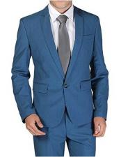1 Button Notch Lapel Single Breasted Royal ~ Cobalt ~ Indigo