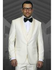 Button Ivory ~ Cream ~ Off White Tuxedo Shawl Lapel Suit Vested Wool Suit