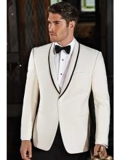 Mens One Button Single Breasted Ivory Tuxedo Suit