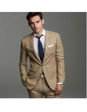 Mens Summer Wedding Khaki ~ dark tan 2 b Button Linen Groomsmen