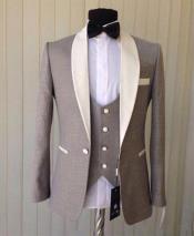 Mens Light Gray Single Breasted 1 Button Shawl Lapel Tuxedo